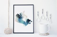 Canadian map watercolor art print, canada map, office decor, home wall decor…