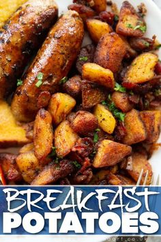 These Fried Breakfast Potatoes are ultra crispy and loaded with so much flavour! | www.dontgobaconmyheart.co.uk Fried Breakfast Potatoes, Quick Easy Meals, Food Videos, Sweet Potato, Sausage, Meat, Vegetables, Recipes, Breakfast