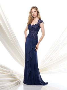 Lace and chiffon A-line gown with illusion lace cap sleeves, sweetheart neckline, asymmetrical waistline, illusion lace back bodice, side draped skirt with cascading ruffle and center back gathering with sweep train, suitable for the mother of the bride and the mother of the groom. Matching shawl included. As shown in Navy Blue: Jeweled Occasions bracelet [...]
