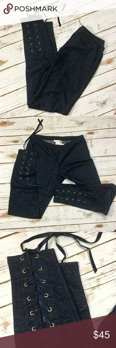 Ribbon Lace up denim soft leggings. NWT Ribbon Lace up denim soft leggings. NWT. Size Medium. These are super adorable, soft, on trend, with comfortable waistband. Goes great whether dressed up or down. Only 1 left Jeans Skinny