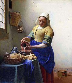 """TENUES VESTIMENTAIRES La toile """"La Laitière""""(1658) de Jan Vermeer illustre l'habillement d'une servante de l'époque: une coiffe blanche, un corsage, un tablier et une robe. Par ailleurs, cette toile comporte certains thèmes de la peinture baroque de style hollandaise comme la nature morte. Cette toile semble même respecter la règle des tiers."""