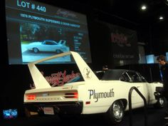 The rear view of the 1970 Plymouth Superbird that sold for $125,000 Plymouth Superbird, Barrett Jackson Auction, Rear View, Palm Beach, Cool Cars, Vehicles, Car, Vehicle, Tools