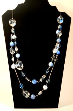 Baby Blue and Diamond Cut Crystals Beaded Necklace by BlissfulBite, $34.95