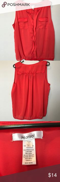 """Marisol sleeveless sheer top w/ pockets. XL Sleeveless sheer top by Marisol. XL.  100% poly. Armpit to armpit 23"""" across. Length from shoulder 26"""". Elastic waist 17"""" not stretched. NWOT. Marisol Tops Blouses"""