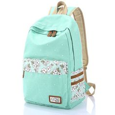 So fresh school backpack ! Fresh Polka Dot Mint Green Canvas School Backpacks #backpack #dot #green #canvas #school #bag #flower