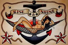 Lady woman rise shine anchor star sparrow rope Shipyard Tattoo Flash Art~A.R.