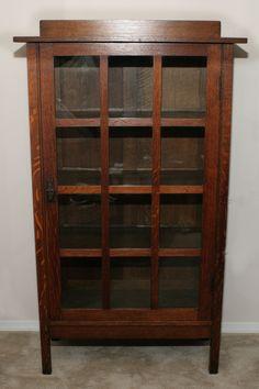 Original Finish Gustav Stickley One Door China Cabinet Model 820