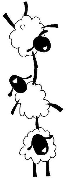 that peaceful easy feeling, sheep helping one another to hold on, till we reach the green pasture and well watered resting places. Embroidery Patterns, Machine Embroidery, Sheep Crafts, Motifs Animal, Sheep And Lamb, Rug Hooking, Illustration, Coloring Pages, Needlework