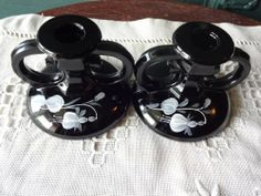 Vintage Black Pair of Candle Holders with Hand Painted Flowers