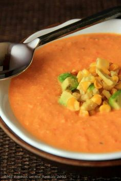 Spicy rosted corn soup with red peppers and tomato