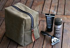 Waxed canvas dopp kit - leather canvas - fathers day - toiletry bag - canvas bag - groomsmen gift - zippered purse - mens bag - cosmetic bag