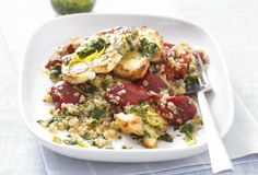 Warm quinoa salad with grilled halloumi. This iron-rich, veggie dish is a great source of iron and uses gluten-free quinoa for an extra dose of protein. Veggie Dishes, Veggie Recipes, Salad Recipes, Vegetarian Recipes, Healthy Recipes, Easy Recipes, Free Recipes, Protein Recipes, Amazing Recipes