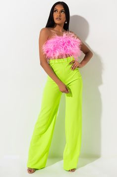 Young Fashion, Black Women Fashion, Neon Pants, Neon Crop Top, Embellished Crop Top, Bodysuit Dress, Strapless Mini Dress, Cute Swag Outfits, Mermaid Gown