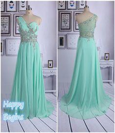 Chiffon Crystal Prom Dress Beaded Long Prom Dress by HappyBegins
