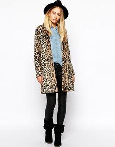 PANTER PRINT FUR COATS // Enlarge Pepe Jeans Leopard Faux Fur Coat