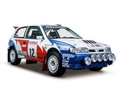 Pulsar GTI-R(1992: RNN14)This is the 230PS high-performance GTI-R version of the fourth-generation Pulsar (N14), launched in August 1990. Nissan entered this GTI-R in the 1991 and 1992 World Rally Championship events; its best achievement was to come in 3rd overall. This machine was driven by the S. Blomqvist/B. Malander team in the 1992 RAC Rally, UK.