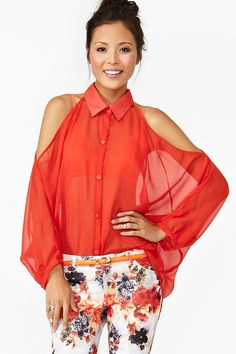 Open Shoulder Blouse in Red