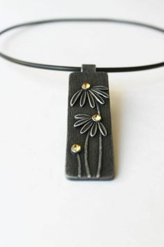 Polymer Clay Jewelry Pendant Necklace Chamomile Camomile Daisy