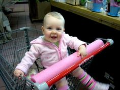 BABY PROOF SHOPPING CART - 50 Clever Uses For Pool Noodles - Babies will often try to eat their shopping cars. Odr at least put their mouths on it. You can make this less gross by placing a pool noodle over the shopping car bar. Freetime Activities, Infant Activities, Summer Activities, Pool Noodle Crafts, Shopping Cart Cover, Shopping Carts, Costco Shopping, Grocery Store, Baby Bumper