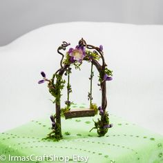 Whimsical Dainty Fairy Swing, Lavender Fairy Swing, y Garden Item, Faerie Play, Mini Swing, Twig Swing,Gift Idea, Fairy Garden Decor by IrmasCraftShop on Etsy