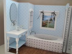 Bathroom Diorama/Room Box for Barbie by bedsbystar on Etsy, $150.00
