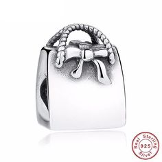 Lady Bow-knot Handbag 925 Sterling Silver Charms Fit pandora Bracelets for Woman DIY Jewelry Accessories Charm Jewelry, Jewelry Gifts, Jewelry Accessories, Charm Bead, Diy Jewelry, Women Jewelry, Fashion Jewelry, Jewellery, Silver Bags