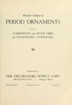 Illustrated catalogue of period ornaments cast in composition and wood fibre for woodwork-furniture