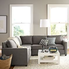 Henry Sectional Set 1 (Corner, 2 One-Arm Sofas (Left + Right)), Performance Velvet, Dove Gray