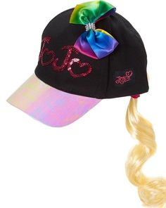 Jojo Siwa Rainbow BOW Sequin Black Baseball Hat Cap Faux Blonde Pony Tail   NickelodeonJoJoSiwa   ef3b154a9a67