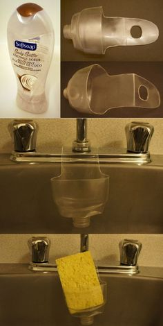DIY Ideas & Tutorials To Recycle Plastic Bottles Into Useful Things 2019 Kitchen Sink Sponge Holder From Plastic Bottle.Kitchen Sink Sponge Holder From Plastic Bottle. Plastic Recycling, Plastic Bottle Crafts, Recycle Plastic Bottles, Home Crafts, Diy And Crafts, Ideas Para Organizar, Sponge Holder, Recycled Crafts, Diy Kitchen