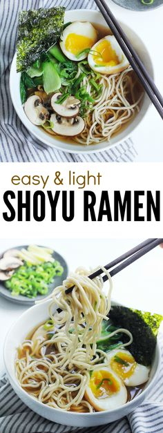 Easy and light shoyu ramen! This soy sauce-based ramen soup recipe is delicious and takes less than 30 minutes to make! One of our favourite Japanese food to eat, we love it even more topped with ramen eggs and roasted seaweed, and of course green onions!