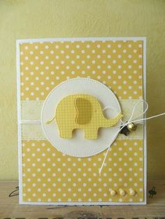 handmade birthday card ... yellow ... polka dotted background with gingham die cut elephant ...