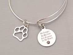 Silver Paw Print No Longer By My Side but by CraftedwithloveGifts