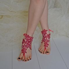 red sandals red anklets bridesmaids anklet sandals by newgloves, $35.00
