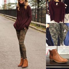 Fall Outfit Pinspiration: Merlot Sweater, Camo Pants and Cognac Boots <br> Here's a fall look you need to recreate with a burgundy sweater, camo pants and cognac ankle boots. Camo Jeans Outfit, Camo Outfits, Legging Outfits, Jean Outfits, Burgundy Pants Outfit, Camo Skinnies, Camo Skinny Jeans, Tan Pants, Casual Winter Outfits