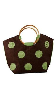 ae3425b0c Our Personalized Green Polka Dots Jute Tote Bag is a stylish way to carry  just about anything. Made of natural jute, this tote bag is durable,  functional, ...