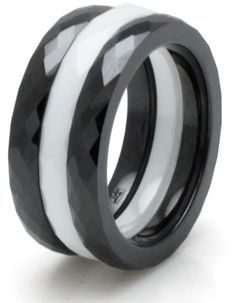 #Tioneer.com              #ring                     #Ceramic #Black #White #Stackable #Multi #Faceted #Ring #black #white)        Ceramic Black & White 3mm Stackable Multi Faceted Ring (2 black / 1 white) Set                                                    http://www.seapai.com/product.aspx?PID=1374269