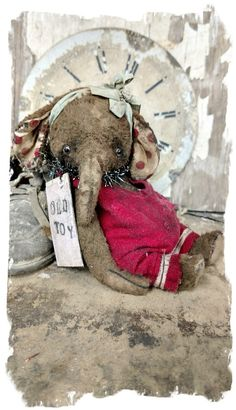 """Image of Weathered Old Elephant ELLYFONT - 6"""" aged romper & paper charm - By Whendi's Bears artist vintage style"""