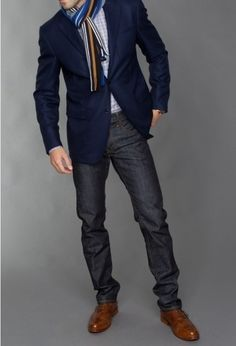 Shop this look for $192:  http://lookastic.com/men/looks/blazer-and-jeans-and-brogues-and-longsleeve-shirt-and-scarf/244  — Navy Blazer  — Charcoal Jeans  — Brown Leather Brogues  — White and Black Gingham Longsleeve Shirt  — Multi colored Scarf