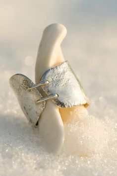 Stitched reticulated silver ring. €110.00, via Etsy.