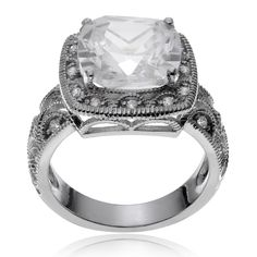 Journee Collection Metal Cubic Zirconia Square Engagement Ring (Size- ) Women's