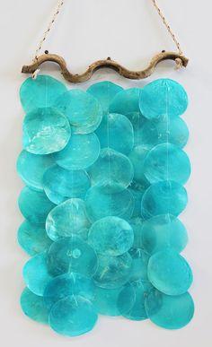 Driftwood & Turquoise Capiz Shell Wind Chime - Coastal Garden & Patio Decor - California Seashell Company
