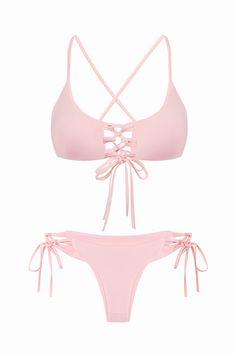 Pink Strappy Bikini Set - US$11.95 -YOINS