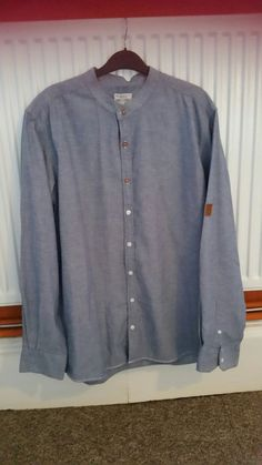 40393634408a HENRI LLOYD HL JEANS   CO LONG SLEEVE GRANDAD GRAND DAD SHIRT BLUE COTTON XL