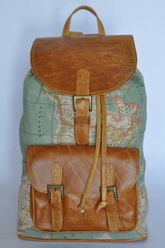 World map canvas backpack