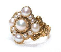 Antique Natural Pearl Ring in Original Box