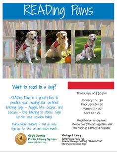 Vinings Library-Cobb County Public Library System Flyer A15 Color Swatch: Blue 15 Font Swatch: Shadows Into