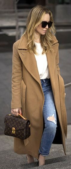 #winter #outfits / Camel Coat / White Top / Destroyed Denim / Brown Leather Satchel