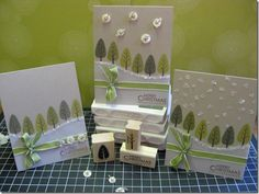 "Love these cards using Stampin' Up!'s ""Trendy Trees"" set.  The sparkly white edged hill gives it a snowy look! - For more, visit http://www.pinterest.com/AliceWrenn/"