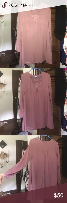 """Perfect condition plum deep plunge dress Only worn once, in perfect condition! Got a little tight on my boobs as I wear a 36 C+. Fit perfectly everywhere else. I'm 5'4"""" and 140lbs Tobi Dresses Long Sleeve"""